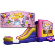 (C) Happy Birthday Girl Bounce Slide combo (Wet or Dry)
