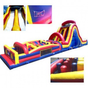 (C) 69ft Dry Obstacle Course w/18ft dual lane slide